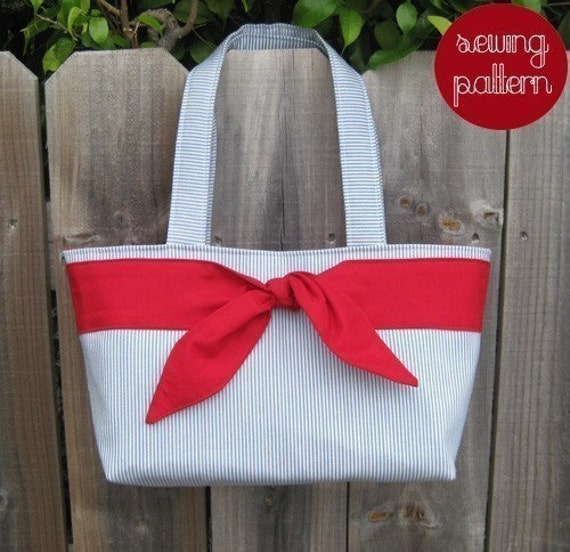 Tie Front Tote Bag PDF Sewing Pattern and Tutorial