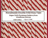 6 yards Handmade Double Fold Bias Tape -  Luscious Peppermint Stripe