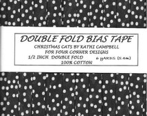 6 Yards Handmade Double Fold Bias Tape - Almost Black with Ivory Polka Dots