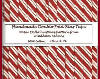 6 yards Handmade Double Fold Bias Tape -  Luscious Peppermint Stripe