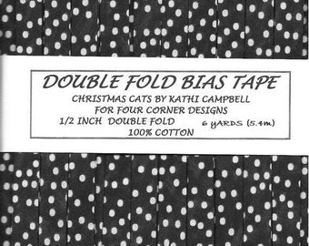 Handmade Double Fold Bias Tape - Almost Black with Ivory Polka Dots