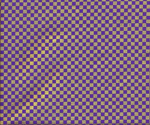 Purple and Gold Metallic Check Fabric from Michael Miller