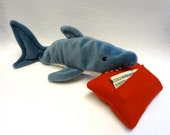 Plush Shark Chomping On Red Felt Tooth Fairy Pillow