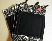 Quilted Halloween Potholders, Trivits, Reversible, Cotton, Black, Pumpkins, Spiders