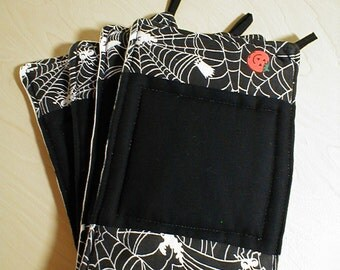Quilted Halloween Potholders, Trivits, Reversible, Cotton, Black, Pumpkins, Spiders