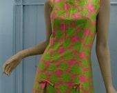 Neon Sun Mini Dress- Hot Pink & Chartreuse, 1960's