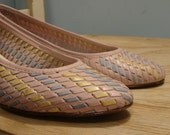 Pastel Woven Wedge- Wedge Pumps by Bass in Pink, Yellow, Blue- 1980's Dress Shoe Flats