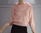 RESERVED Pink Lady Sweater- 1950's Inspired (1980's)- Poofy Cowl Neck