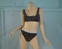 Galaxy Bikini Swimsuit- Black & White Puff Paint- 1980's Two Piece Swim Suit- Sports Bra- Club