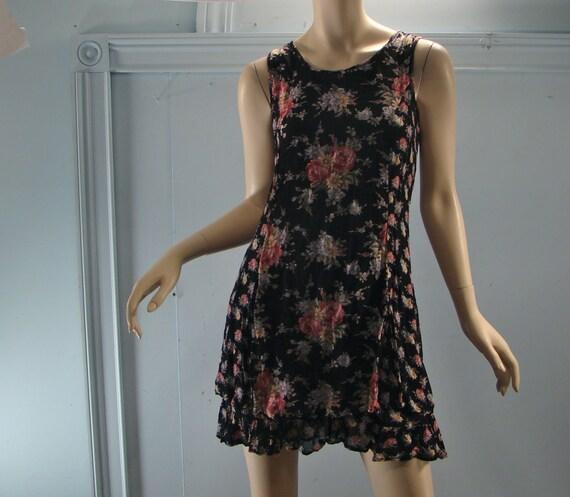 Black Floral Minidress- 1990's Grunge