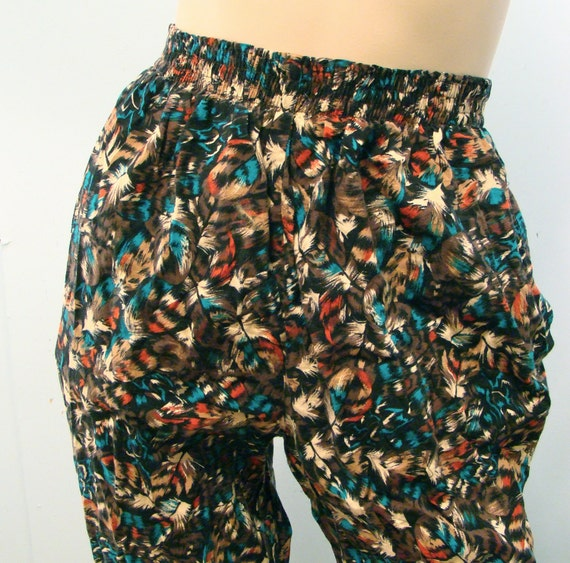 Feather Print Pants- Harem Style, 1980's