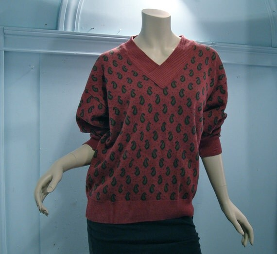 Paisley Sweater- Burgundy Red- Giorgio Armani- Linen Cotton Blend