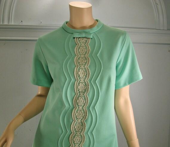 Mint & Lace Dress- 1960's Shift