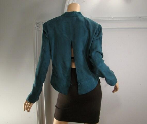 Teal Tuxedo Jacket or Blouse- 1990's