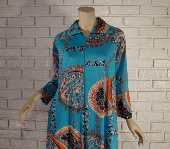 Art Nouveau Robe / Dress- Turquoise Blue- 1970's