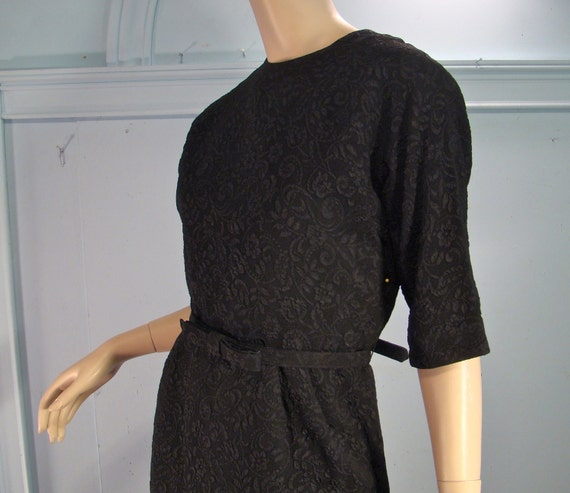 RESERVED Floral Texture Wiggle Dress- 1960's in Black, Elbow Sleeves, Knee Length, Size Large to Extra Large