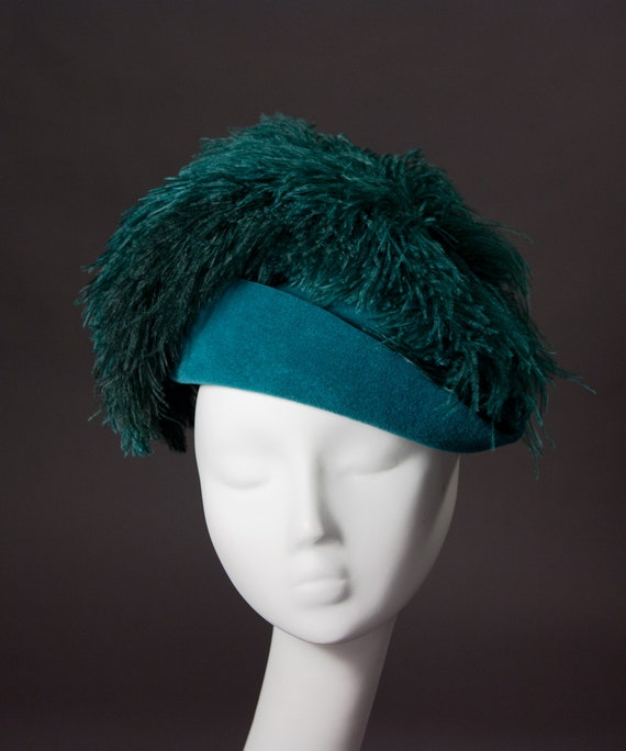 SUPER SALE - Ladies Fascinator Cocktail Hat Ostrich Feathers in Teal Peacock Blue