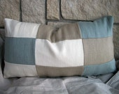S A L E Modern Minimalist Decorative Accent Pillow Cover in Designer Ivory, Nougat and Quarry Belgian Linen