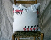 "London  Vintage Textile Decorative Pillow Cover Cotton Red Black on Ivory ROYAL GUARD Print  20"" Square"