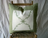 """S A L E Hand Printed Embroidered Ivory Sage Moss Green Linen Decorative Designer VINE Pillow Cover 23"""" Square"""