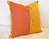 S A L E Decorative Pillow Cover Modern Tangerine and Tumeric Stripe