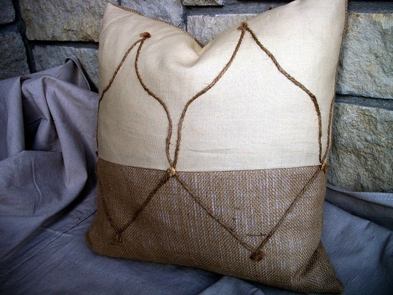 S A L E Rustic Moroccan Inspired Pillow Cover Linen Burlap Jute Cord