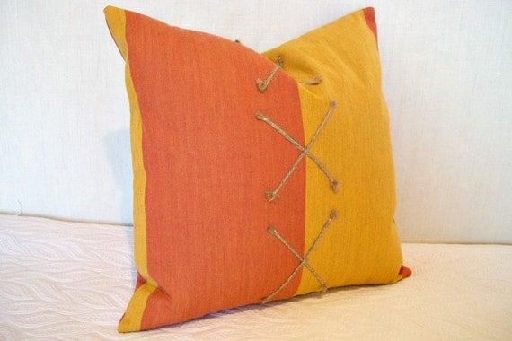 S A L E Decorative Pillow Cover Modern Tangerine and Tumeric Stripe