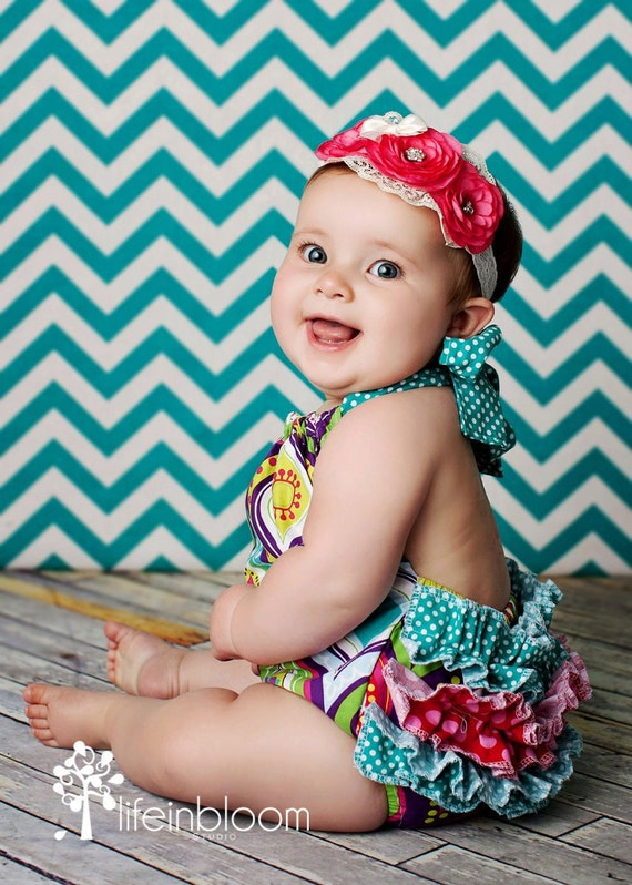 Items Similar To Retro Baby Ruffle Bubble Romper Newborn