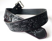 Dark Brown Western Wild Rose Floral Leather Belt - Custom