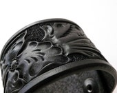 Black Wild Rose Floral Leather Cuff - Small