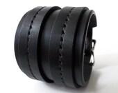 Black on Black Double Strap Saddle Stitch Cuff