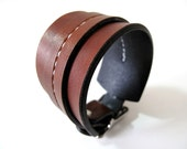 Rust Brown One Strap Saddle Stitch Cuff