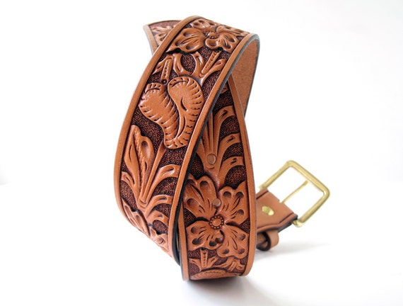 Hand Tooled California Poppy Floral Leather Belt - Custom