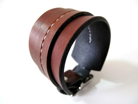 Rust Brown One Strap Saddle Stitch Cuff