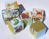 SALE - Jenn Ski ABC Animal Blocks 2 Inch Childrens Blocks