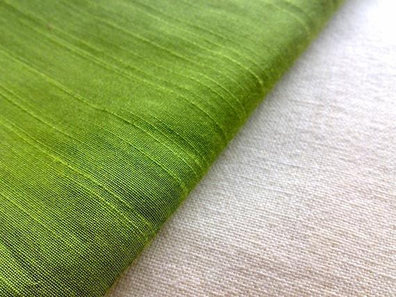 Bright Green Dupioni Silk Fabric Half Yard