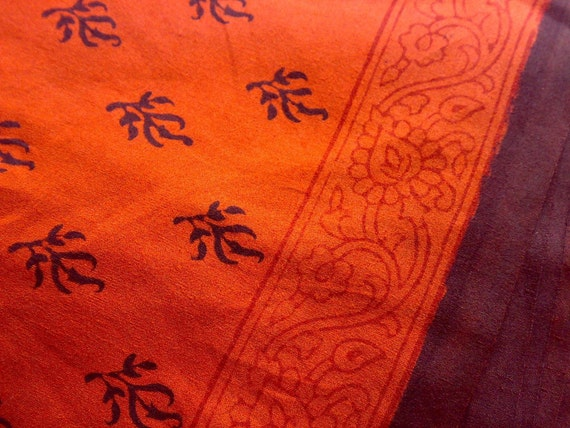 Reserved For Cat - Indian Cotton Saree Fabric Orange Brown - Bagh Print Madhya Pradesh - Hand Blocked Printed Vegetable Dyes 023