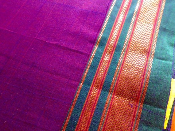 Dual Toned Magenta Blue Green Gold - Indian ILKAL Handloom Cotton Sari Fabric B004