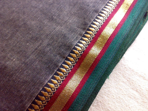 Indian Cotton Saree Fabric Embroidered Gray Red Green Gold