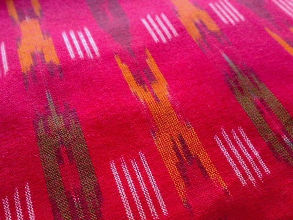Ikat Fabric Cotton Amaranth Red Green White India Handloom