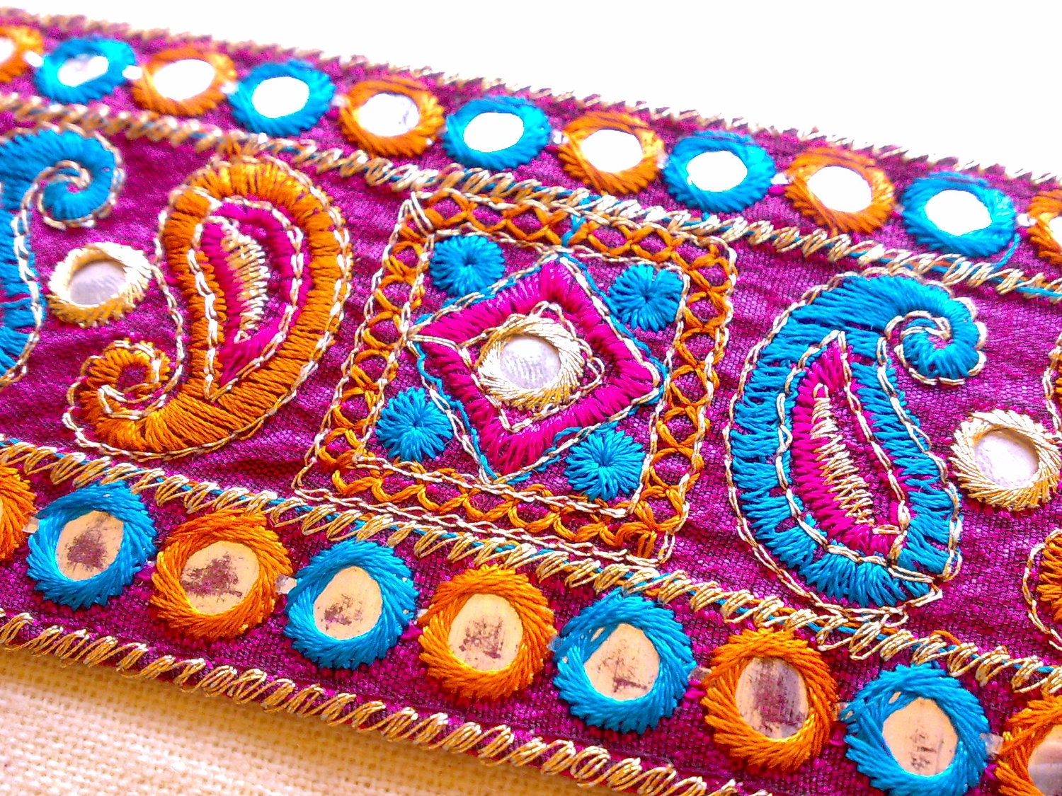 Colorful Kutch Paisley Mirror Work Silk Trim With Gold And