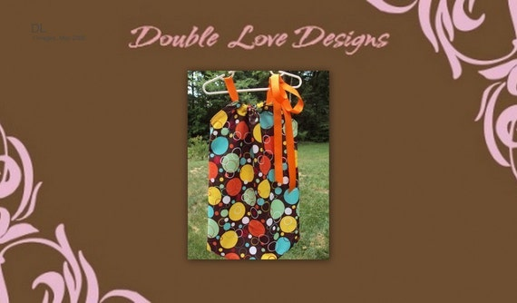 FALL DRESS. Fun brown, red, orange, yellow, and green circles Pillowcase Dress or Top. Sizes 0-3 months through 6 Youth. PERFECT for twins or brother\/sister set