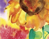 ACEO Sunflower watercolour Free shipping