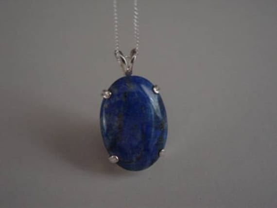 Lapis Lazuli Protection Necklace, Sterling Silver Lapis Pendant, Sterling Silver Cable Chain
