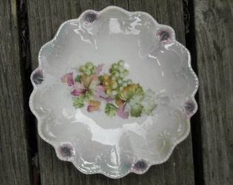 Vintage German iridescent dish GRAPE design