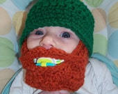 St. Patrick's Day Baby Beard Beanie - 0 to 3mos, 3 to 6 mos, 6 to 12 Months, Toddler - Infant Sized - Made to Order