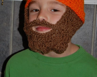 Custom Child Beard Beanie - Youth Size 4 to 10 - Made to Order