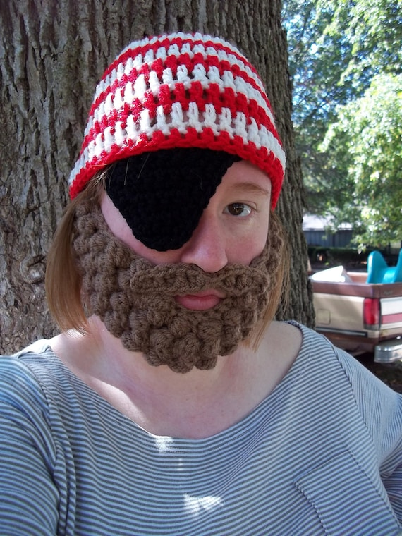 Adult Pirate Costume with Beard, Adult Pirate Beard Beanie, Adult Eye Patch and Beard, Adult Costume Party Hat, Adult Halloween Costume