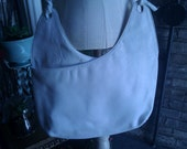 White Large Leather Cross Body Bag