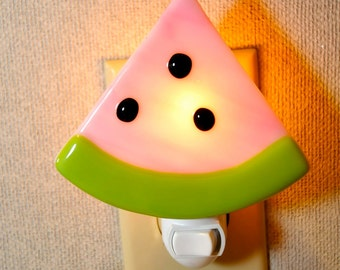 Pink Watermelon with Seeds Fused Night Light.